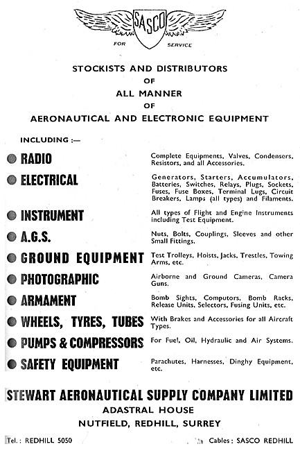 Stewart Aeronautical. SASCO  Aircraft Parts Stockists