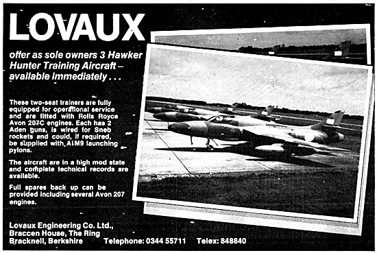 Lovaux Engineering - Hawker Hunter Aircraft For Sale 1980 Advert