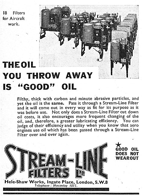Stream-Line Oil Filters. Waste Oil Reclamation