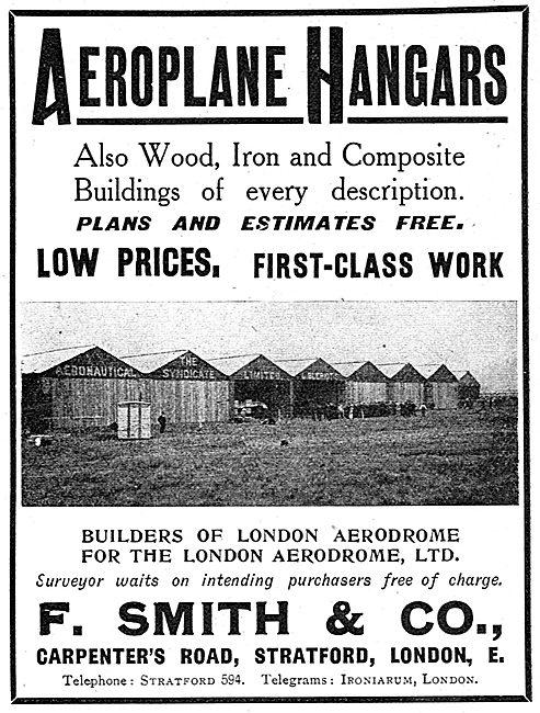 F.Smith & Co. Carpenter's Rd Stratford. Aeroplane Hangars