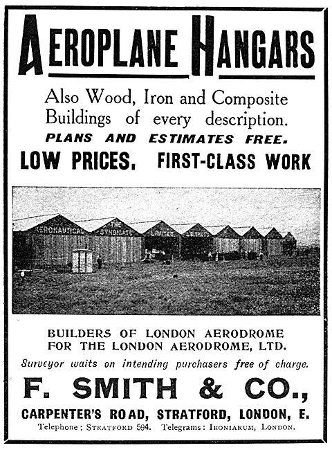 F.Smith & Co. Hangars. Builders Of London Aerodrome, Hendon