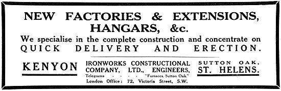 Kenyon Ironworks Co Ltd.  Hangars & Factory Buildings