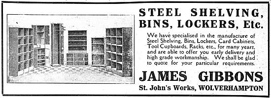 James Gibbons Steel Shelving & Bins 1916