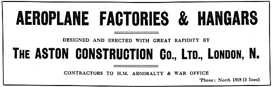 The Aston Construction Co Ltd. Aeroplane Factories & Hangars