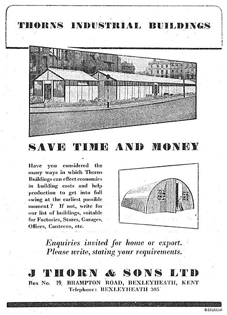 J.Thorn & Sons, Bexleyheath. Airfield Buildings - 1950 Advert