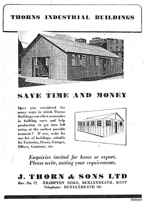 J.Thorn & Sons, Bexleyheath. Airfield Buildings - 1950 Advert