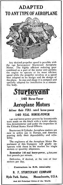 Sturtevant Aeroplane Motors - Hyde Park Boston Mass