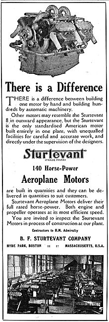 Sturtevant 140 HP Aeroplane Motors. There Is A Difference.
