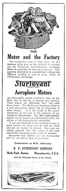 Sturtevant Aeroplane Engines. The Motor And The Factory.