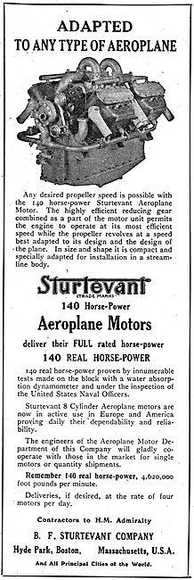 Sturtevant Aeroplane Motors Can Be Adapted To Any Aeroplane