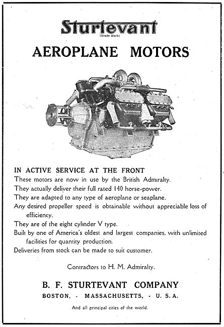 Sturtevant Aeroplane Motors In Active Service At The Front