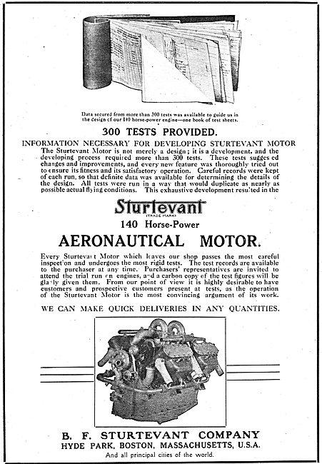 Sturtevant  140 HP Aeronautical Motors. Proved & Tested