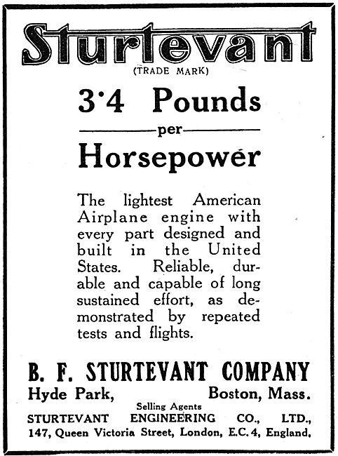 Sturtevant  WW1 Aeroplane Motors