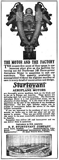 Sturtevant Aeroplane Motors 1917 Advertisement