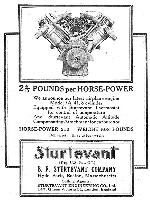 Sturtevant Aero Engines 1917