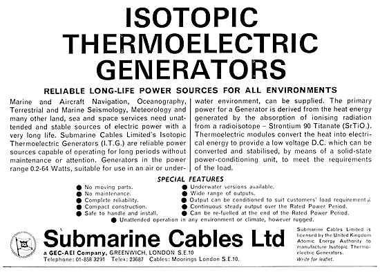 Submarine Cables Isotopic Thermoelectric Generators