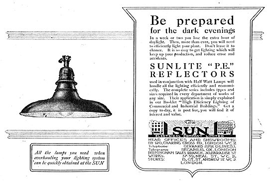 The Sun Electrical Co- Factory Lighting. Sunlite P.E. Reflectors