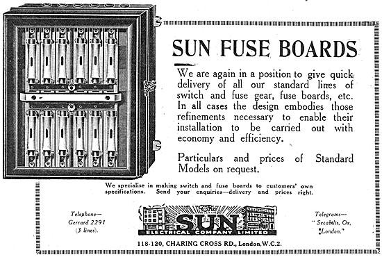 The Sun Electrical Company - Sun Fuse Boards 1919