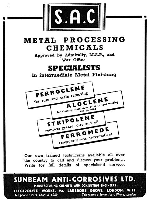 Sunbeam Anti-Corrosives Metal Processing Chemicals.