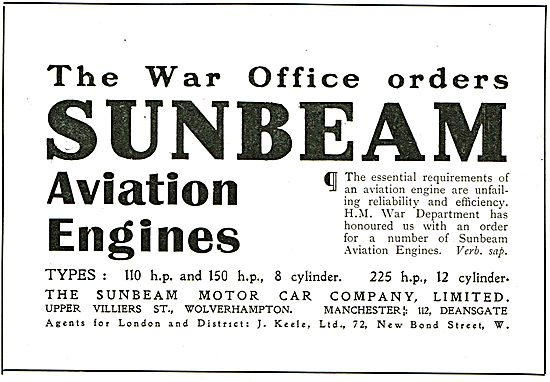 The War Office Orders Sunbeam Aviation Engines