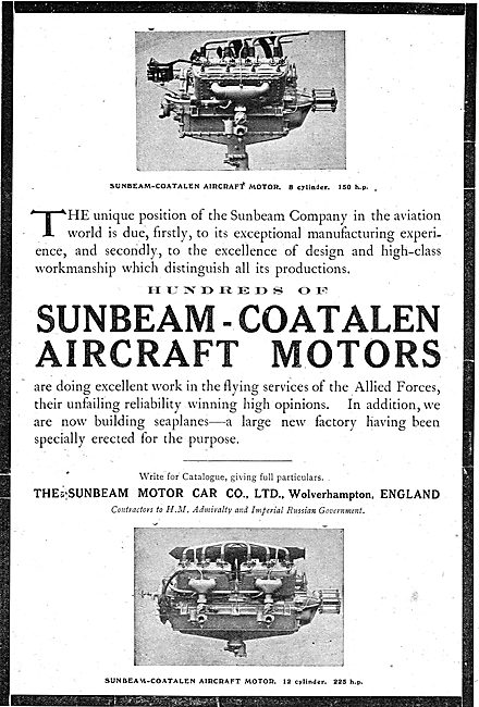 Sunbeam-Coatalen Aircraft Motors - 8 Cylinder 150 HP Shown
