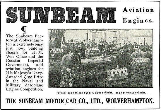 Sunbeam-Coatalen 100 & 150 HP Aviation Engines In Production