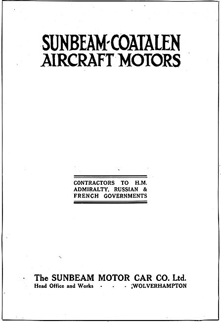 Sunbeam-Coatalen Aircraft Motors. Wolverhampton