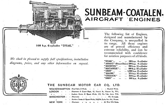 Sunbeam-Coatalen Dyak 100 HP 6 Cylinder Aero Engine