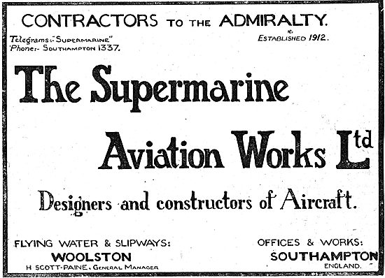 The Supermarine Aviation Works Ltd. Flying Water At Woolston