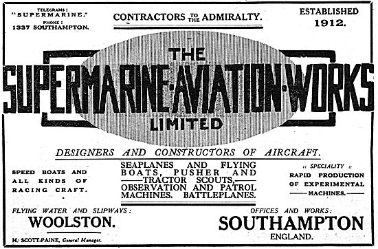 Supermarine Aviation - Spped Boats & Seaplanes WW1