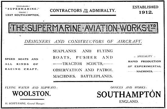 Supermarine Aviation - WW1 Military Aeroplanes