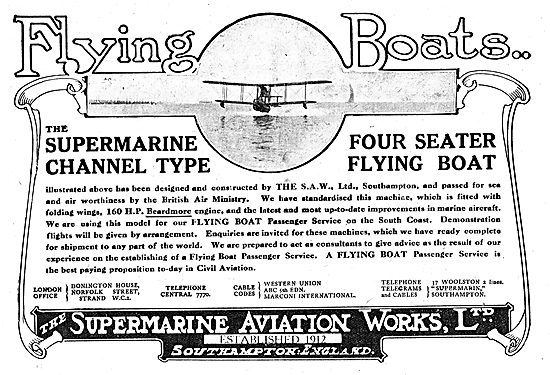 Supermarine Channel Type Four Seater Flying Boat