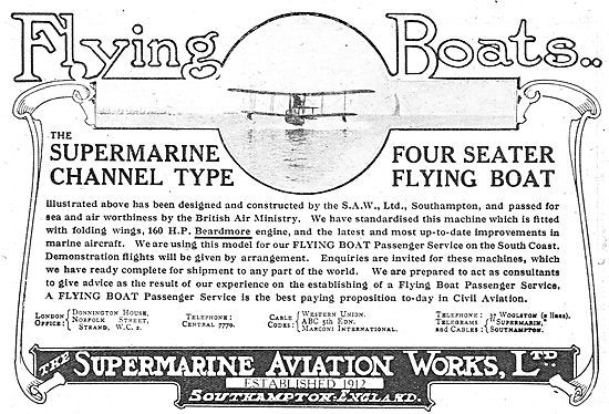 Supermarine Channel Type Four Seater Flying Boats