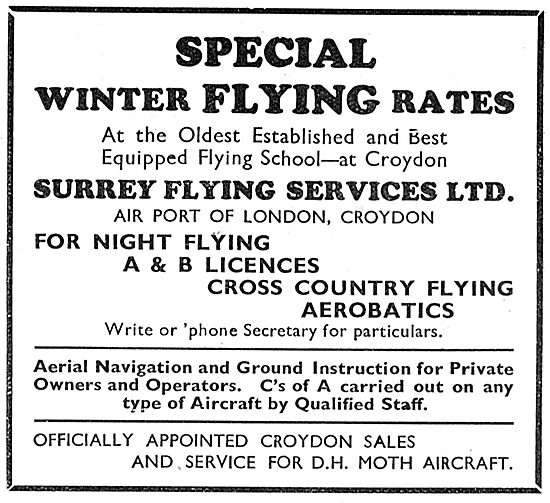 Surrey Flying Services Croydon - Special Winter Flying Rates