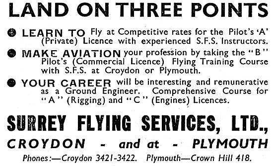 Surrey Flying Services - Learn To Fly At Croydon & Plymouth