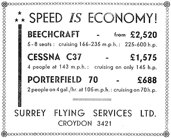 Surrey Flying Services. Beechcraft, Cessna & Porterfield Sales