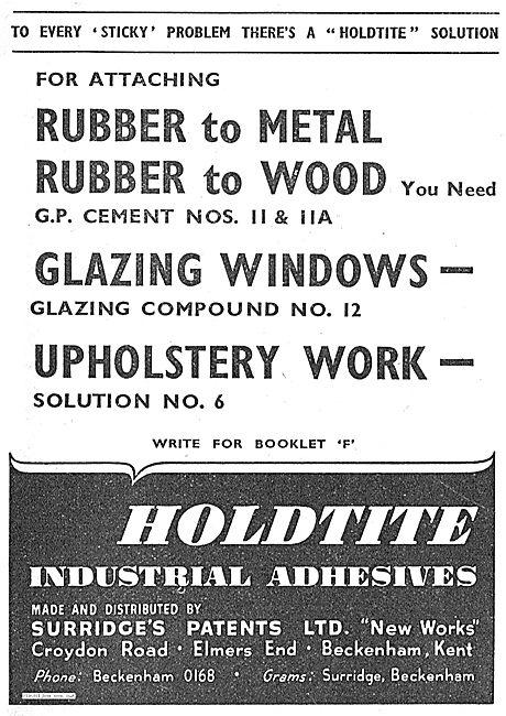 Surridges Patents Aircraft Grade Holdite Industrial Adhesives