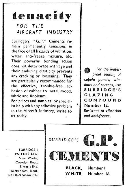 Surridges Patents - Adhesives & Sealants. G.P.Cements