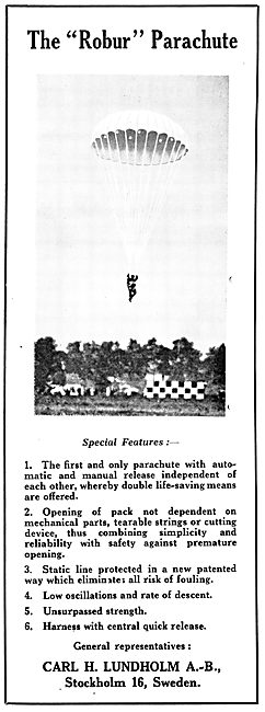 Carl A. Lundholm Robur Parachutes 1931