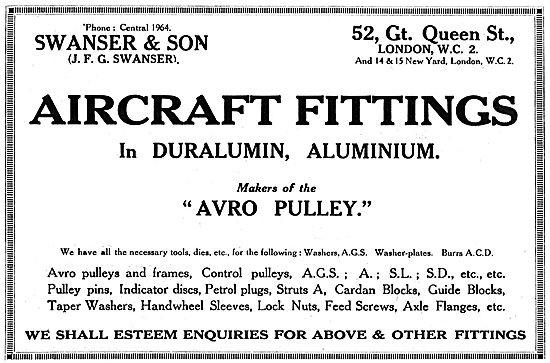 Swanser & Son - Aircraft Fittings In Duralumin