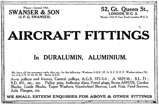 Swanser & Son.  AGS  & Aircraft Fittings In Duralumin