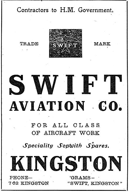 Swift Aviation Co - Sopwith Spares. All Classes Of Aviation Work