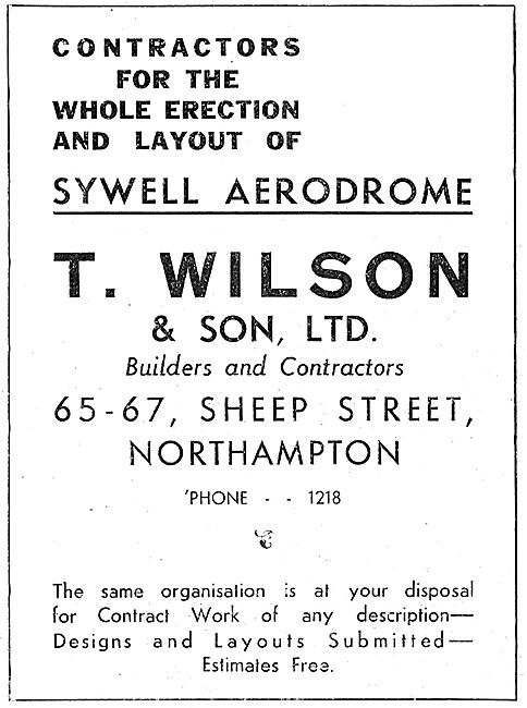 T.Wilson & Son Contractors For Erection Of Sywell Aerodrome