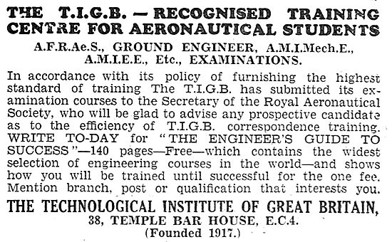 The Technological Institute Of Great Britain - Ground Engineers