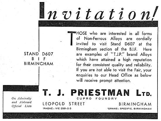 T.J.Priestman Ltd. Leopold St, Birmingham. Non Ferrous Alloys