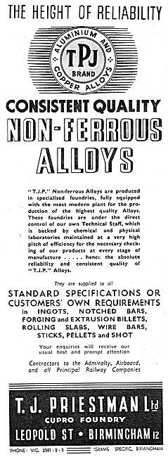 T.J.Priestman Ltd. Non Ferrous Alloys 1937