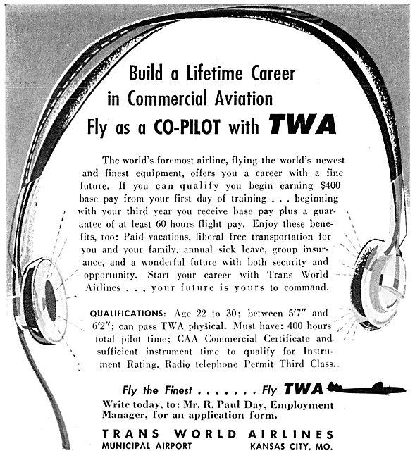 TWA Trans World Airlines Pilot Recruitment 1957
