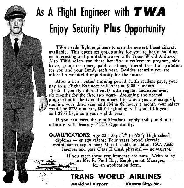 TWA Trans World Airlines Flight Engineer Recruitment 1957