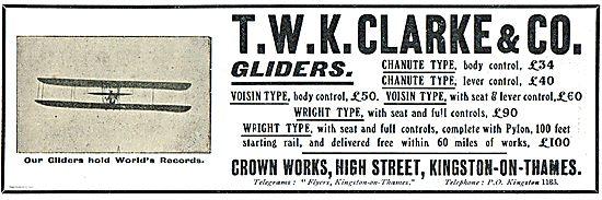 T.W.K.Clarke Chanute & Voisin Body Control Control Gliders