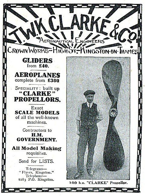 T.W.K. Clarke Aeroplanes Crown Works Kingston-on-Thames